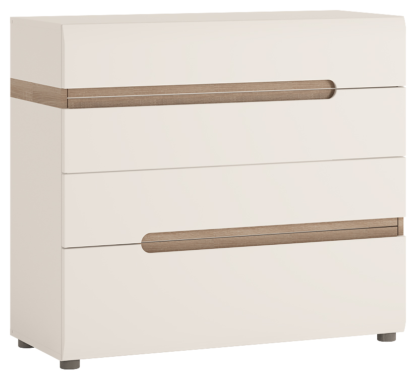 Abdabs Furniture Chelsea Chest Of Drawers Gloss White With Oak Trim