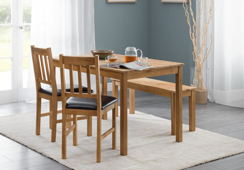 Abdabs furniture coxmoor oak dining table bench set Breakfast table with bench